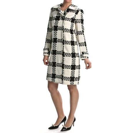 Focus 2000 White Plaid Coat (For Women)