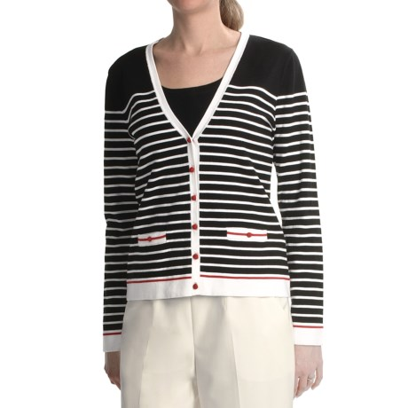Striped Cardigan Sweater (For Women)