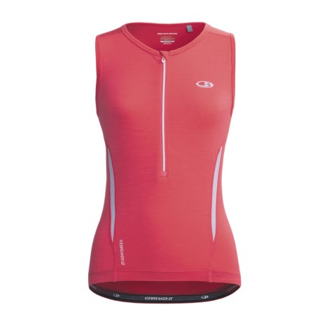 Icebreaker GT Bike Halo Cycling Jersey - Merino Wool, Zip Neck, Sleeveless (For Women)