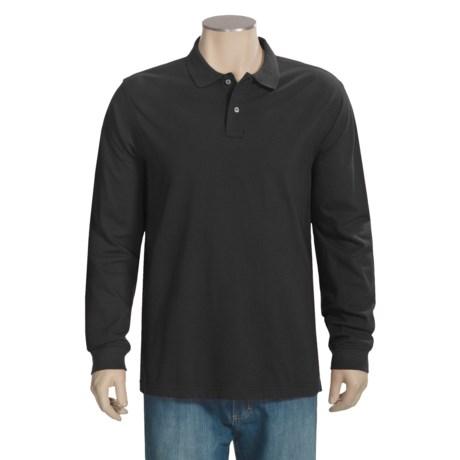 Pique Knit Cotton Polo Shirt - Long Sleeve (For Men)