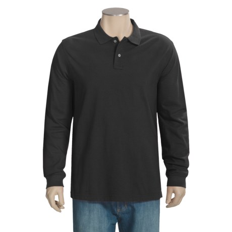 Specially made Pique Knit Cotton Polo Shirt - Long Sleeve (For Men)