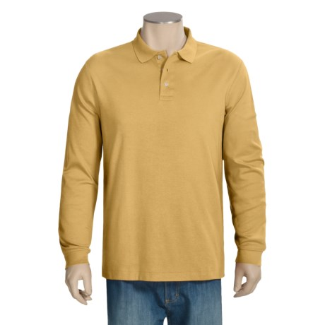 Pima Cotton Polo Shirt - Long Sleeve (For Big and Tall Men)