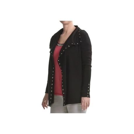 Tribal Sportswear Soft Knit Cardigan Sweater - Faceted Trim (For Women)