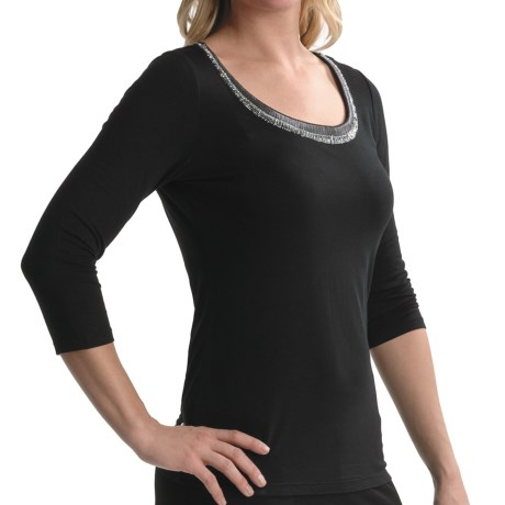 Tribal Sportswear Beaded Scoop Neck Shirt - 3/4 Sleeve (For Women)
