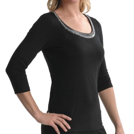 Tribal Sportswear TRIBAL Beaded Scoop Neck Shirt - 3/4 Sleeve (For Women)