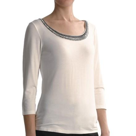 Tribal Sportswear Beaded Scoop Neck Shirt - 3/4 Sleeve (For Women) in Cream