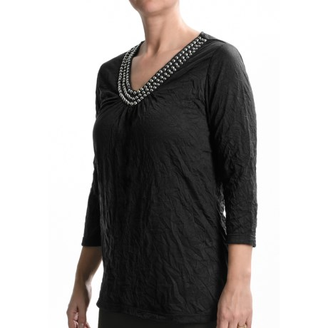Tribal Sportswear Crushed and Studded Shirt - 3/4 Sleeve (For Women)