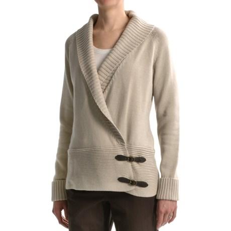 Tribal Sportswear Cotton Cardigan Sweater - Side Buckles (For Women)