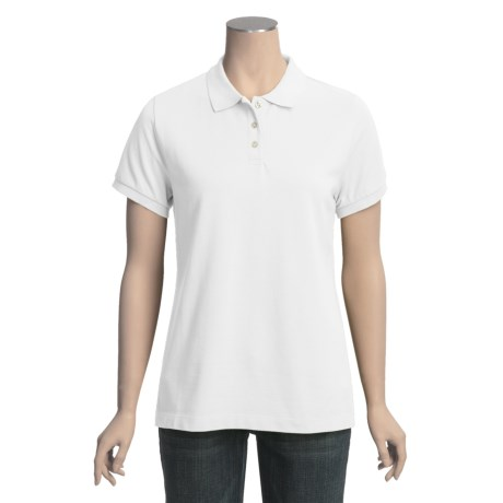 Pique Cotton Polo Shirt - Short Sleeve (For Plus Size Women)