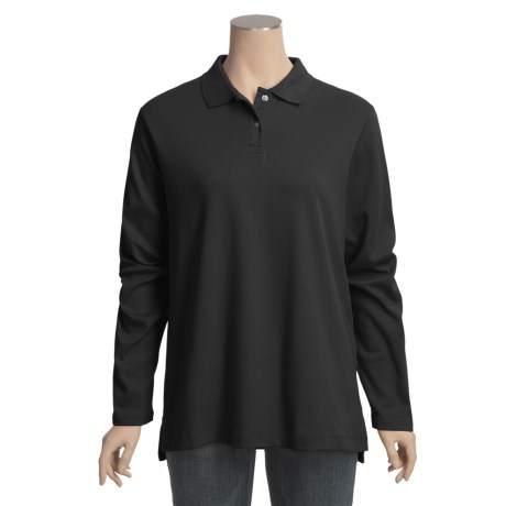 Interlock Cotton Polo Shirt - Long Sleeve (For Plus Size Women)