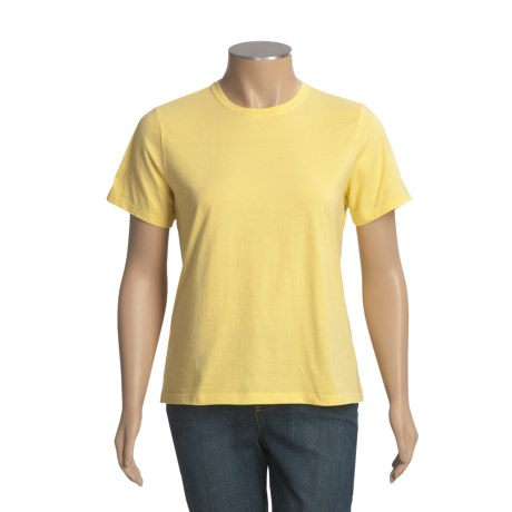 Jersey Cotton T-Shirt - Ribbed Crew Neck, Short Sleeve (For Plus Size Women)