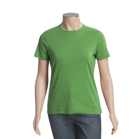 Interlock Cotton T-Shirt - Crew Neck, Short Sleeve (For Women)