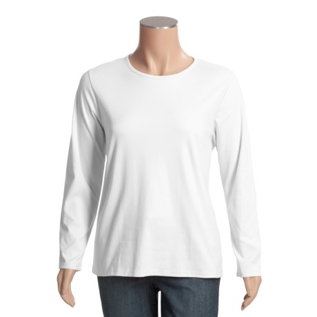 Supima® Cotton T-Shirt - Crew Neck, Long Sleeve (For Women)