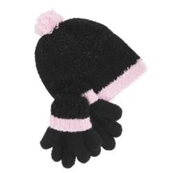 Grand Sierra Sparkle Chenille Hat and Gloves Set (For Little Girls)