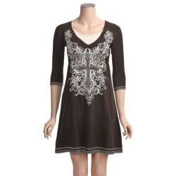 Rock & Roll Cowgirl Cross Embroidered Dress - V-Neck, Empire Waist, 3/4 Sleeve (For Women)