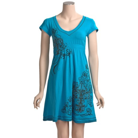 Rock & Roll Cowgirl Fleur-De-Lis Rose Dress - Empire Waist, Short Sleeve (For Women)
