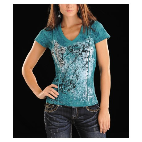 Rock & Roll Cowgirl Cross V-Neck T-Shirt - Short Sleeve (For Women)