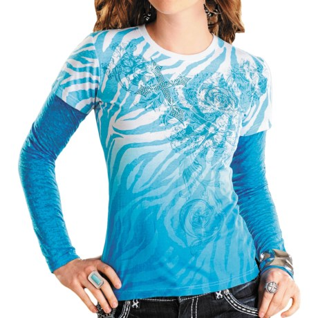 Rock & Roll Cowgirl Pring Crew Neck - Long Burnout Sleeve (For Women)