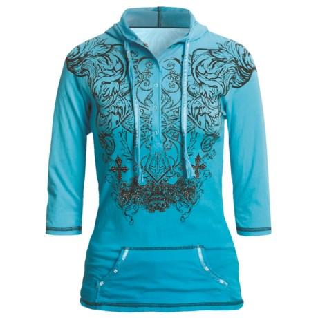 Rock & Roll Cowgirl Tribal Cross Henley Hooded Shirt - 3/4 Sleeve (For Women)