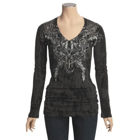 Rock & Roll Cowgirl Flocked Logo T-Shirt - Long Sleeve (For Women)