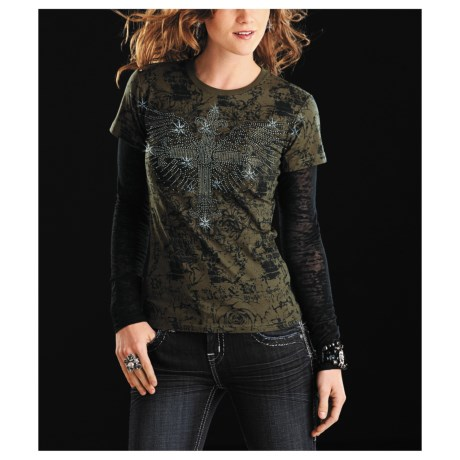 Rock & Roll Cowgirl Cross-with-Wings Shirt - Long Burnout Sleeve (For Women)
