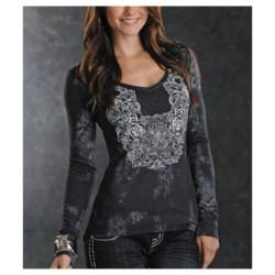 Panhandle Slim V-Neck Heathered Jersey Shirt - Long Sleeve (For Women)