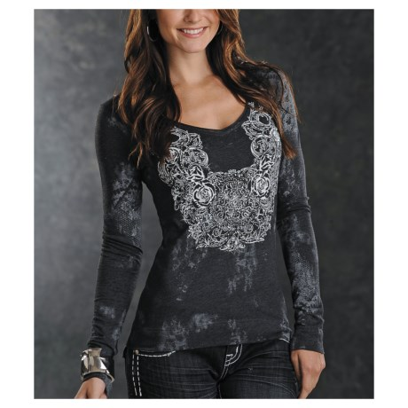 Panhandle Slim V-Neck Heathered Jersey Shirt - Long Sleeve (For Women)