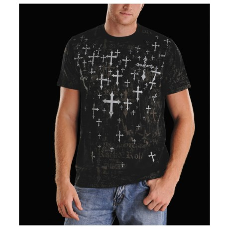 Rock & Roll Cowboy Scattered Cross T-Shirt - Short Sleeve (For Men)