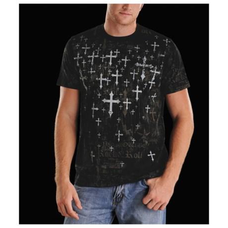 Rock & Roll Cowboy Scattered Cross T-Shirt - Short Sleeve (For Men)