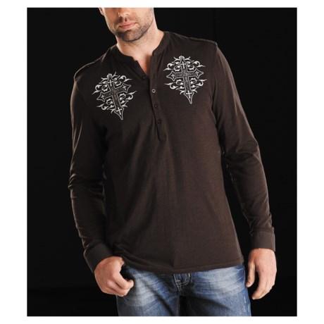 Rock & Roll Cowboy Scattered Cross Henley Shirt - Long Sleeve (For Men)