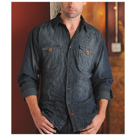Panhandle Slim 90 Proof Shirt - Crinkled Washed Denim, Long Sleeve (For Men)