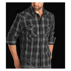 Rock & Roll Cowboy Plaid Shirt - Scroll Embroidery, Long Sleeve (For Men)