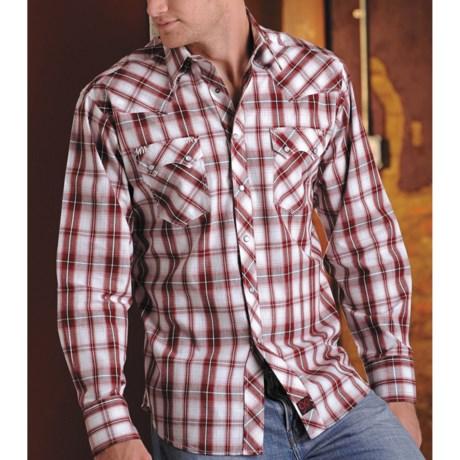 Panhandle Slim 90 Proof Saddle-Stitch Plaid Shirt - Long Sleeve (For Men)