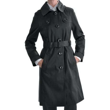 London Fog Hooded Faux Silk Trench Coat - Zip-Out Liner (For Plus Size Women)
