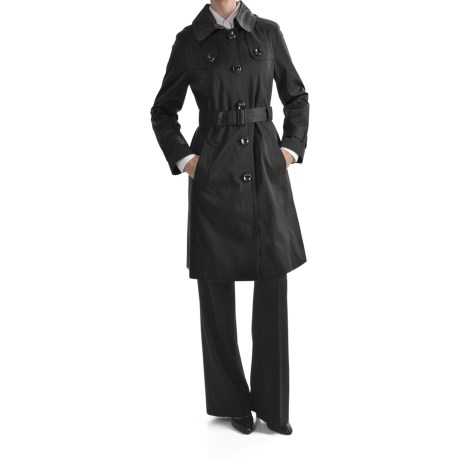 London Fog Hooded Faux Silk Trench Coat - Zip-Out Liner (For Women)
