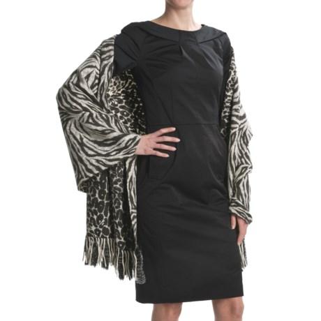 La Fiorentina Animal Print Wrap with Rabbit Fur Fringe - Reversible, Wool (For Women)