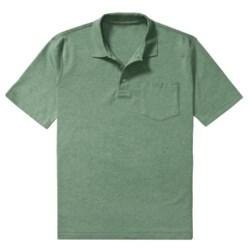 Heathered Pima Cotton Polo Shirt - Chest Pocket, Short Sleeve (For Men)