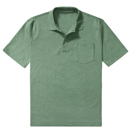 Heathered Pima Cotton Polo Shirt - Chest Pocket, Short Sleeve (For Men)