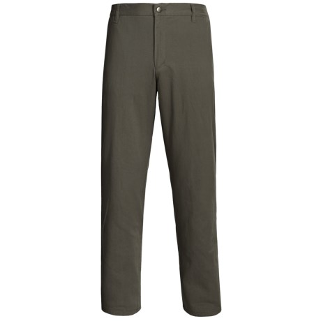 Flannel-Lined Twill Pants - Flat Front (For Men)