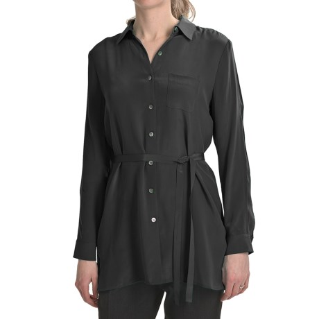 Paperwhite Crepe de Chine Silk Tunic Shirt - Long Sleeve (For Women)
