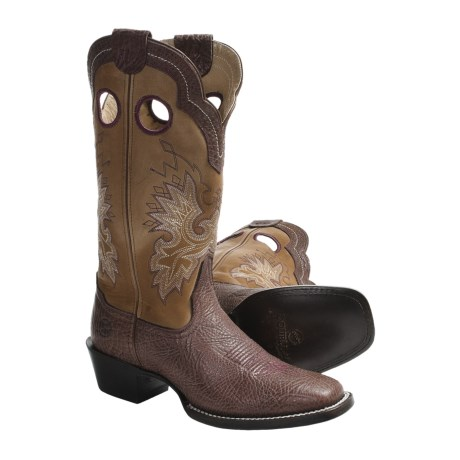 Double H Buckaroo Cowboy Boots - Leather, Square Toe (For Women)