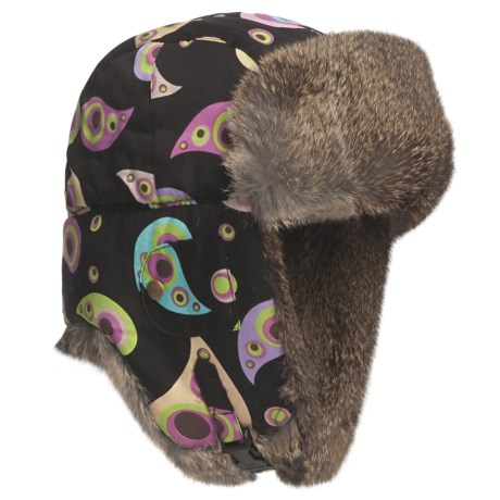 Mad Bomber® Sateen Aviator Hat - Euro Fit, Rex Rabbit Fur, Insulated (For Men and Women)