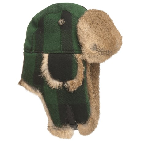 Mad Bomber® Lil' Wool Plaid Aviator Hat - Rabbit Fur, Insulated (For Kids)