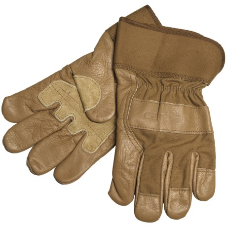 Carhartt Grain Leather Work Gloves with Safety Cuffs (For Men)