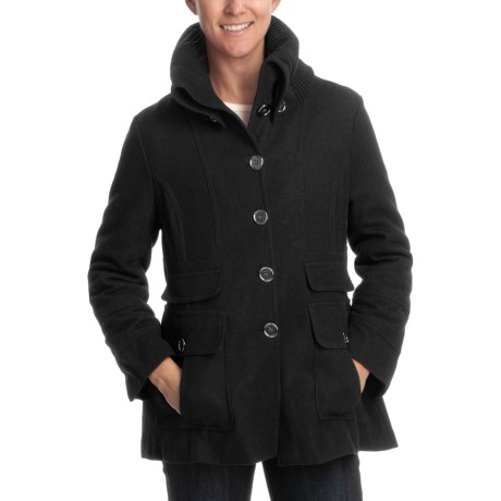 Excelled Wool Coat - Knit Collar (For Plus Size Women)