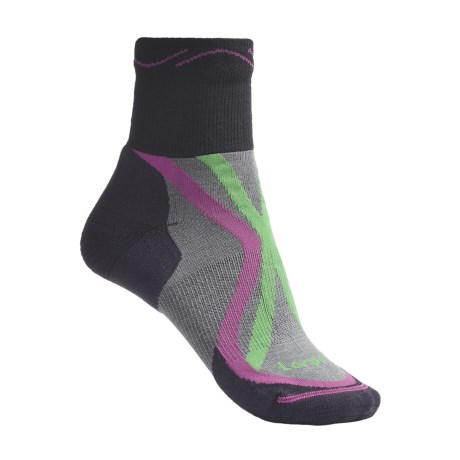 Lorpen Tri-Layer Trail Running Socks - Lightweight, Quarter Crew (For Women)