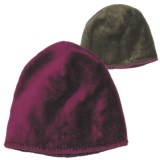 White Sierra Cozy Beanie Hat - Reversible Fleece (For Women)