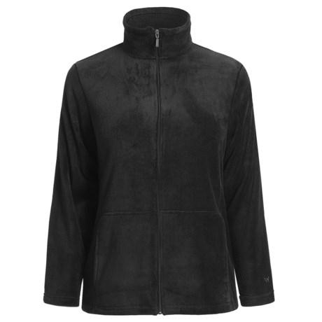White Sierra Cozy Fleece Knit Jacket (For Plus Size Women)