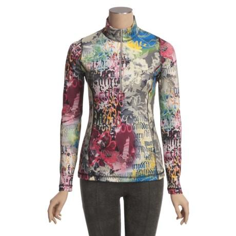 Sno Skins Microfiber Print Shirt - Zip Neck, Long Sleeve (For Women)