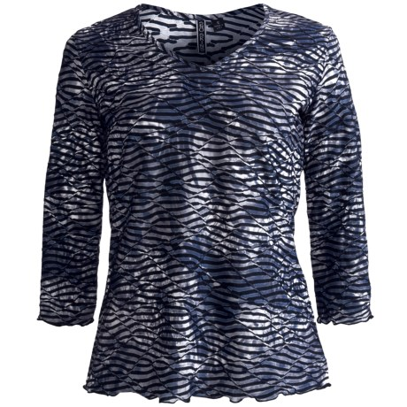 Sno Skins Twisted Print V-Neck Shirt - 3/4 Sleeve (For Women)